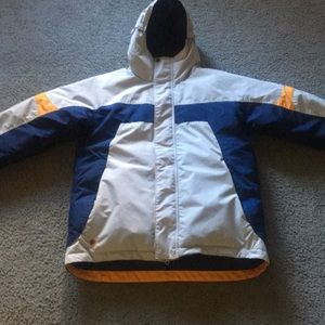 Columbia puff jacket blue yellow and white